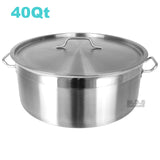 Low Stockpot 40 Qt Commercial Grade Heavy Duty Gauge Capsulated Bottom Stainless Steel Restaurant Kitchen Casserole Soup Stew Seafood Rice