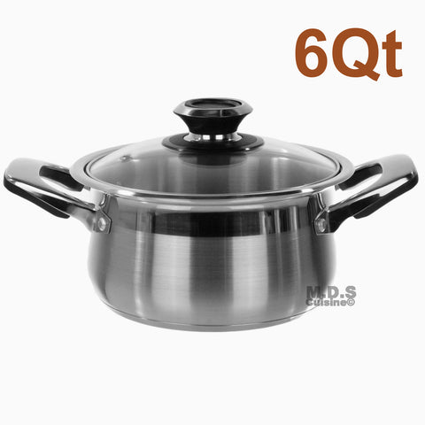 Dutch Oven 6qt Stainless Steel Tri-Ply Encapsulated Bottom Stock Pot NEW