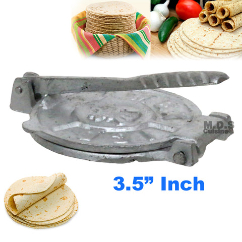 "Tortilla Press 3.5"" Mini Authentic Traditional Aluminum Tortilla Sope Maker Arepas Tacos Classic"