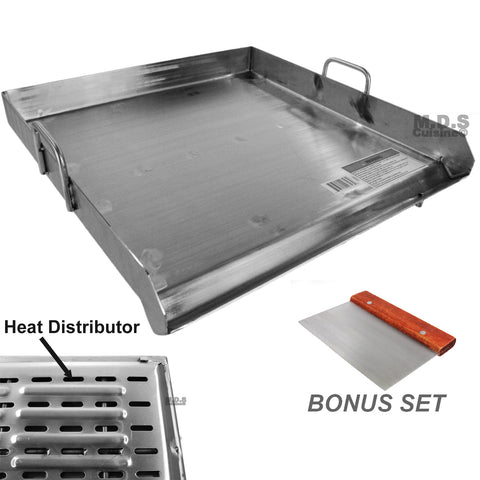 "Stainless Steel Flat Top Griddle With reinforced brackets under griddle 20""X20"" -Heat Distributor"