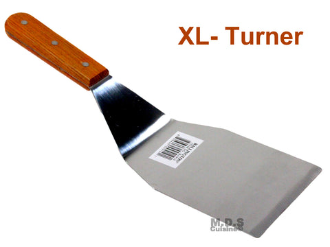 Turner Burger XL Heavy Duty Polished Stainless Steel Grill Spatula Scraper Wood Handle