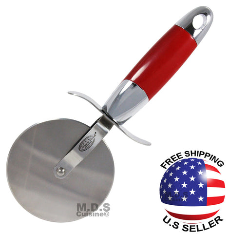 "Pizza Cutter Large 4"" Blade Wheel Stainless Steel Heavy Duty - Elegant Design"