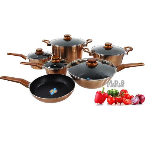 Cookware Set Stylish in Copper Metallic  Aluminum 11 Piece Nonstick
