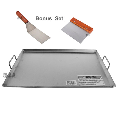 "Griddle Flat Top Stainless Steel Grill Plancha Chef Pro Cooking Comal Heavy Duty 19 1/2""x13"""