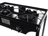 Double Two Burner Stove Heavy Duty Outdoor  Stand Portable BBQ Grill Camping NEW