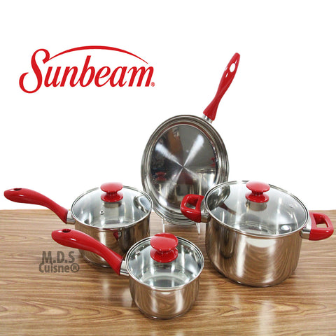 Sunbeam 7PC Non Stick Stainless Steel Cooking Cookware Set Pots Pans Aluminum Glass Lids