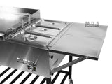 "Taco Cart 36"" Stainless Steel Griddle w/ 3 Steamers Pans Catering Plancha Propane Gas"