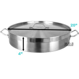 Low Stockpot 21Qt Commercial Grade Heavy Duty Gauge Stainless Steel Restaurant Kitchen Casserole Soup Stew Seafood Rice