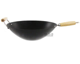 "Oster Wok 14"" Carbon Steel with Wooden Handle New Non stick Kitchen Stir Fry Pan"