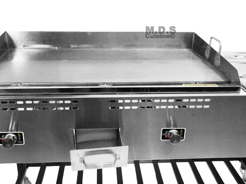Taco Cart 36 Quot Steel Griddle W 3 Steamers Amp Table Oc