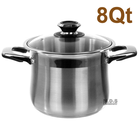 Stock Pot 8qt Stainless Steel Tri-Ply Encapsulated Bottom Dutch Oven NEW