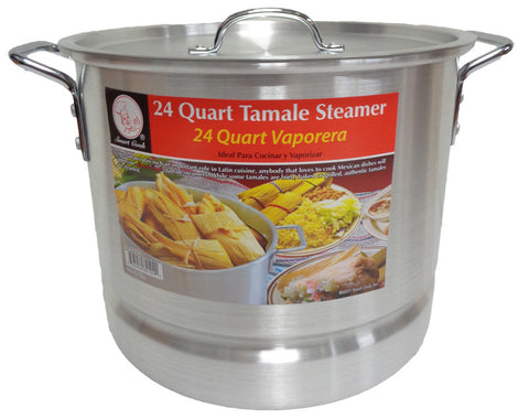 24 Qt Tamale Steamer Vaporera Stock pot Premium Aluminum 6 Gallons Fry Pan NEW