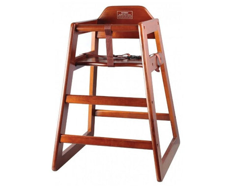 High Chair Kids Mahogany WoodenCommercial Kitchen Restaurant Supply Booster Seat with Straps