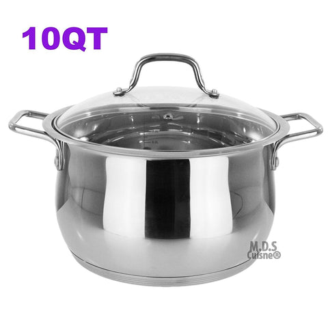 Stockpot 10Qt Stainless Steel Commercial Tri Ply Capsule Bottom Pot Dutch Oven Stock Pot New