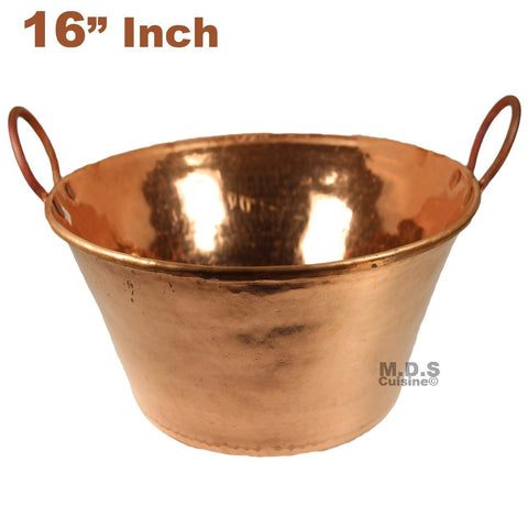 "Cazo de Cobre Puro 16"" Para Carnitas Classic Traditional Tacos Pure 100% Copper Mexico"
