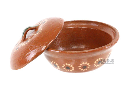 Salsero de Barro with Lid & Serving Spoon Traditional Salsa Bowl Chip & Dip Molcajete Sauce Mexican