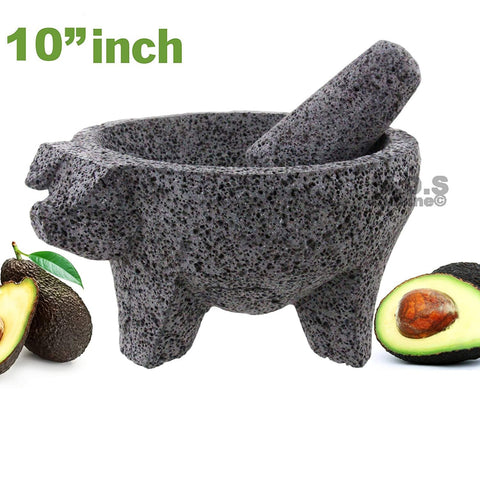 "Molcajete 10"" Mortar & Pestle Salsera Salsa Guacamole Tejolote Metlapil Lavastone Aztec Mayan Toltec Volcanic Rock Ancient Traditional Pre-Hispanic Antique Grinding Stone Metlapil Bowl"