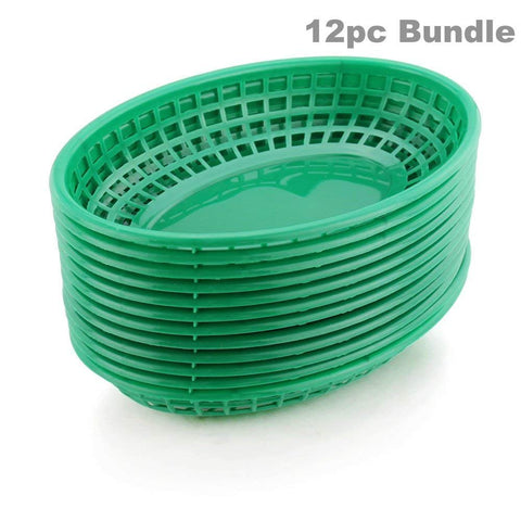 Food Baskets Oval Style Plastic Traditional Classic Restaurant Diner Commercial Green Fast Food Serving Basket Trays ((12) Restaurant Baskets)