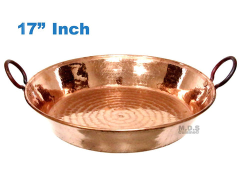 "Paella Pan 17"" Paellera de Cobre Spain España 100% Pure Hammered Hand-made Artisan Copper Classic Traditional Seafood Marisco Cazo"