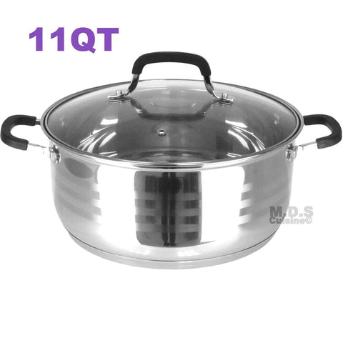 Dutch Oven Pot Stainless Steel 5 Layer Extra Impact Capsulated Bottom w/Lid Glass Olla Traditional Heavy Duty (11Qt)