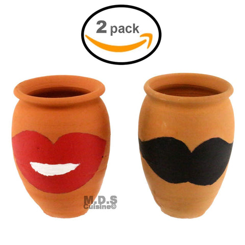 Cantarito De Barro 12 Oz Decorative Artisan Artezenia Jarrito Traditional Authentic Mexican Lead Free Red Clay Loco Margarita Michelada (2 Cantaritos)