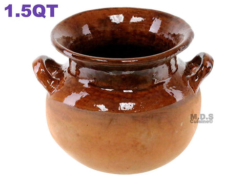 Olla Frijolera De Barro 1.5 Qt. Mini Traditional Handmade Mexican Authentic Artisan Barro Clay 100% Lead Free Stockpot with Brown Glaze Interior Finish