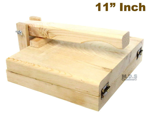 "Tortilla Press 11"" Pine Wood Tortilladora de Madera Big Tortilla Press Heavy Duty Traditional"
