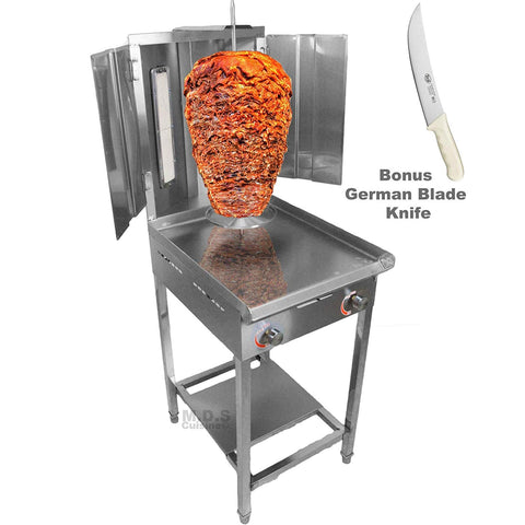 "Trompo Para Tacos Al Pastor Dual Infrared Propane Gas Burner with Stainless Steel Comal Griddle 9.5"" Pastor Knife and Stand"