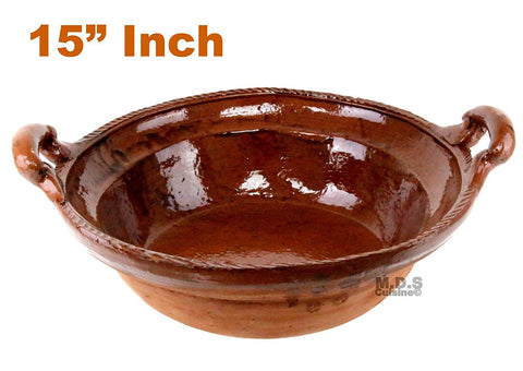 "Cazuela De Barro 15"" Brown Interior Finish Lead Free Mexican Casserole Clay Traditional Decorative Artisan Olla Artezenia"