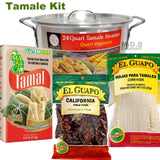 Tamale Tamalera Kit Steamer Pot 24 Qt Tamales Chile Verde Masa Maseca Corn Husks Vaporera (24 Qt Pot with Masa and 8 Oz Corn Husks)