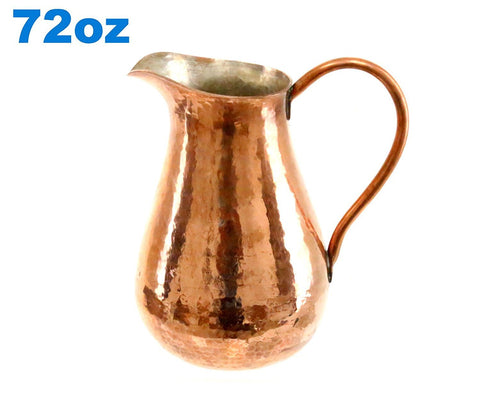 Pitcher Jar 100% Copper Hammered Handcrafted 72 oz. Pitcher