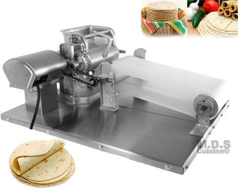 Tortilla Press Roller Maker Electric Stainless Steel para Corn Masa Rolled Homemade Tortillas Maiz with Motorized Conveyor Belt