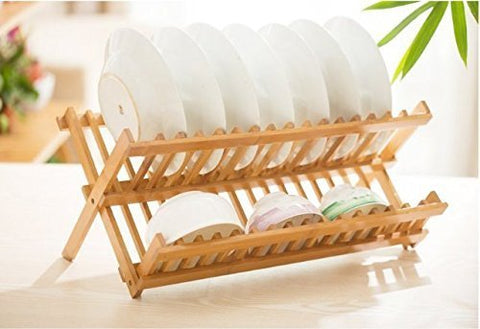"Dish Rack 17.5"" Bamboo 2 Tier Collapsible Folding Drying Utensil Dishes Holder"