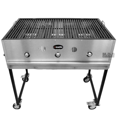 "Ematic Catering Cart 36"" Grill 100% Pure Heavy Duty Gauge Steel Commercial Stainless Steel Taco Cart"