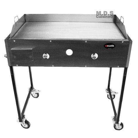 "Ematic Catering Cart 36"" Griddle 100% Pure Heavy Duty Gauge Steel Commercial Stainless Steel Taco Cart"