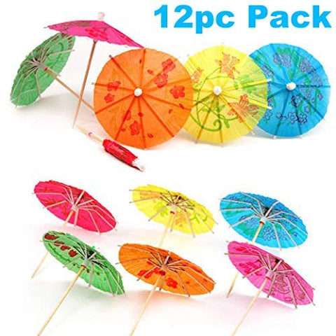"Umbrella 4"" Cocktail Margarita Festive Dining Drink-ware Decorative Party Bar Beverage Picks for Drinks (12 Cocktail Umbrellas)"