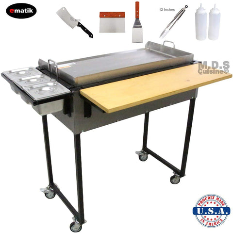 "Ematik Griddle 31"" 100% Heavy Duty Gauge Steel Stainless Steel Catering Cart Grill Taco Cart Tailgate Camping Stove (Catering Griddle Cart 31"" -Bundle Set)"