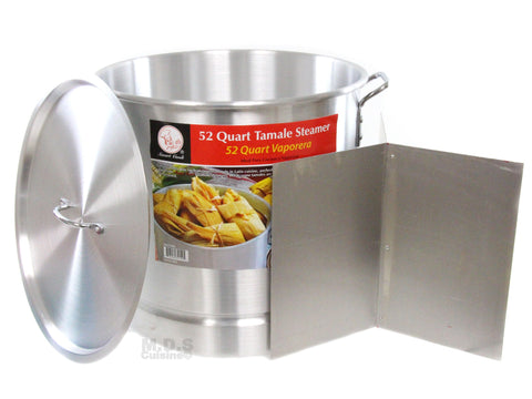 52 Qt Tamale Steamer Vaporera Stock pot Aluminum 13 Gallons Fry Pan NEW w/ Divider