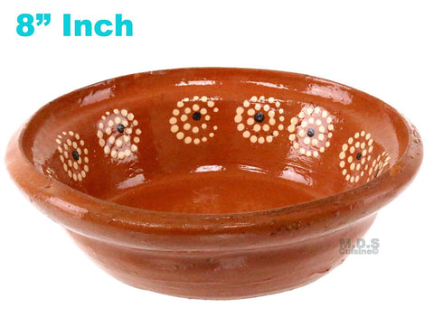 "Plato Pozolero de Barro 8"" Mexican Soup Bowl Traditional Clay Lead Free Artisan Artezania"