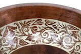 Sink Round Circular Engraved Floral Hand Hammered Artisan Copper Cobre Extra Deep Luxor Modern Bathroom Antique Style Sink