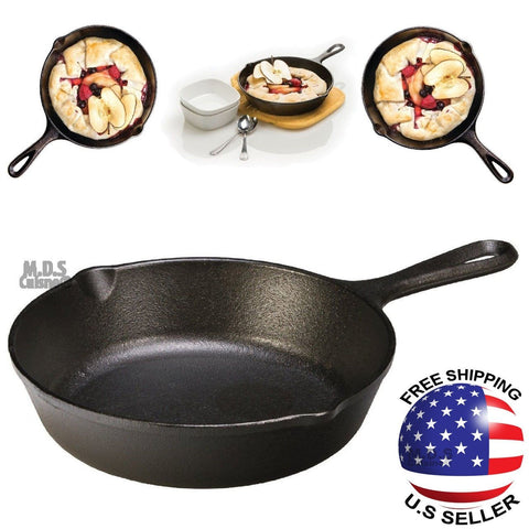 "Cast Iron 7.75"" Pre Seasoned Fry Pan Skillet Camping Heavy Duty NEW"