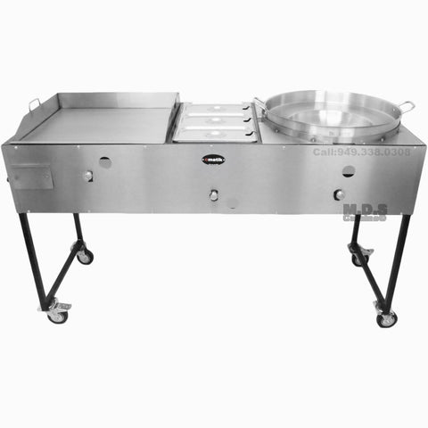 "Ematik Catering Cart 24"" Griddle 100% Pure Heavy Duty Gauge Steel Commercial Stainless Steel Taco Cart with Steamer and Concave Comal"