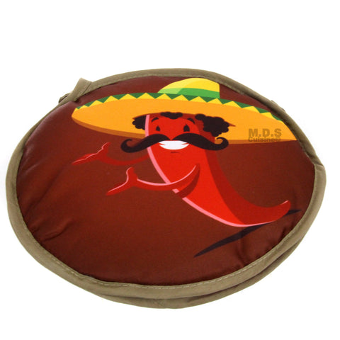 "Tortilla Warmer 10"" Microwavable Fabric 2 Sided Mexican Red Peppers and Cactus I"