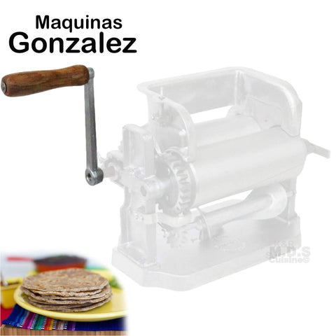 "Tortilla Roller Handle 6"" Cast Aluminum Wooden Replacement for Gonzalez Manual Tortilla Maker Roller Machines Tortillador Tortillaleros"