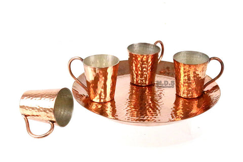Shot Glass 100% Pure Hammered Copper Five Piece Set with Plate Mescalero Tequilero