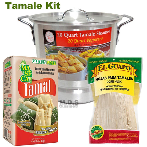 Tamale Tamalera Kit Steamer Pot 20 Qt Tamales Chile Verde Masa Maseca Corn Husks Vaporera (20 Qt Tamalera with Masa and 8 Oz Corn Husk)