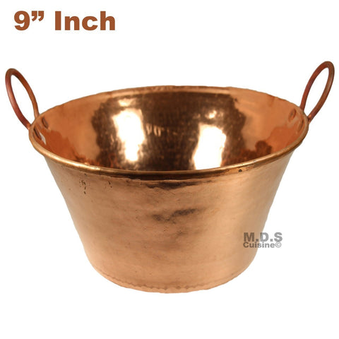 "Cazo de Cobre Puro 9"" Para Carnitas Hanging Classic Traditional Tacos Pure 100% Copper Mexico"