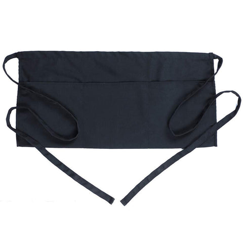 Apron Waist Black 3 Pocket Cooking Food-Prep Food-Service Commercial Restaurant Diner Cafe Cooking Chefs Barista Smock Supplies