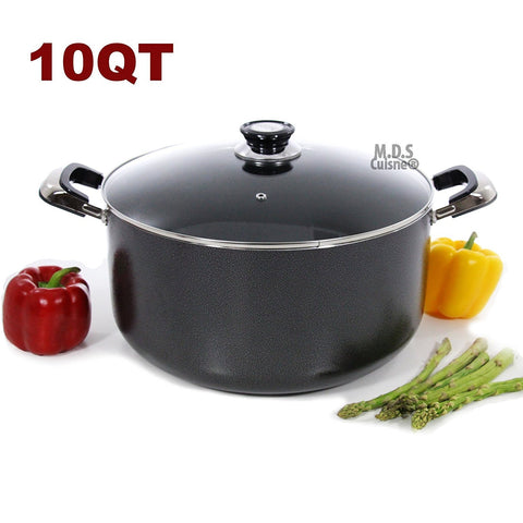 10Qt Non Stick Heavy Gauge Aluminum Dutch Oven Casserole Pot Glass Lid New