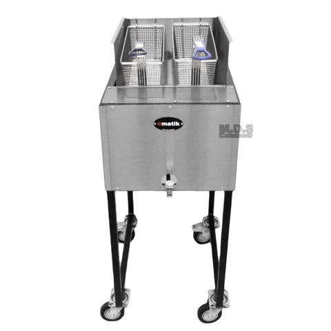 Ematic- Deep Fryer Stainless Steel 21 Qt. Dual Basket Commercial Grade Catering Cart